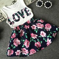 2 Pcs Set Baby Girls Outfits T-shirt Tops+Floral Skirt Dress Formal Clothes LOT