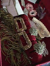 20 PieceVintage Millinery Hat Supplies Lot Flowers Ribbon Scraps Dolls Crafts