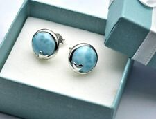 100% Natural Dominican 10mm Larimar Olive Leaf 925 Sterling Silver Stud Earrings