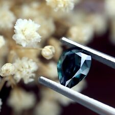 Certified 1.14ct Natural Unheated Teal Sapphire VS Clarity Rose Cut Pear 8x5.9mm