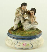 !Antique RARE Victorian Conta & Boehme Bisque Porcelain Lg Fairing Box Romantic