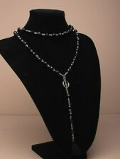 long black beaded necklace with silver chain,peace symbol and tassel