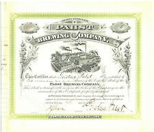 Pabst Brewing Company. Stock Certificate Issued to and s/b Gustave Pabst