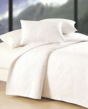 PURE WHITE SHELL Twin (single) QUILT SET - COTTON MATELASSE BEACH HOUSE SHELLS
