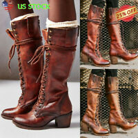 US Women Retro Mid Calf Combat Boots Ladies Block Med Heels Lace Up Riding Shoes