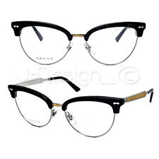 GUCCI GG 4284 CSA Black Silver Gold Cat Eye 52/17/140 Eyeglasses Rx Italy - New