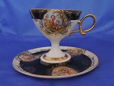 Rare Grizelle Japan Opalescent Cup and Saucer- Black and Gold