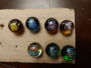 Pokemon 7 Marbles Lot Mew Blastoise Venusaur Pikachu Nidoqueen Nidoking