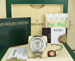ROLEX REHAUT Mens 40mm Platinum & Stainless Steel YachtMaster 16622 SANT BLANC