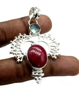 "925 Sterling Silver Pink Ruby & Amethyst Gemstone Jewelry Pendant Size-2"""