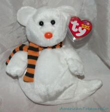 """NEW 2003 TY Beanie Babies Plush White 8"""" QUIVERS The SPOOKY GHOST BEAR Halloween"""