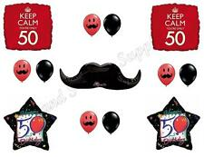 KEEP CALM MUSTACHE 50th Happy Birthday Party Balloons Decoration Supplies Fifty
