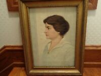 Antique Original Oil on Canvas Portrait Painting of Woman by James Magee, 1920
