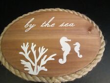 """""""By the Sea"""" Wooden Oval Plaque with Rope Trim, 13"""""""