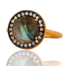 Natural Labradorite Gemstone Jewelry 18K Gold Plated 925 Sterling Silver Ring