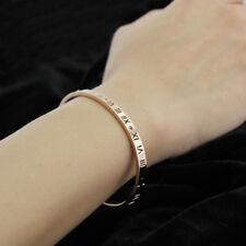 Women Men 18K White / Rose Gold Filled Roman Numerals Crystal Bangle Bracelet