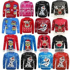 Knitted Crew Neck Olaf Christmas Xmas Novelty Jumper Top Sweater Kids Girls Boys