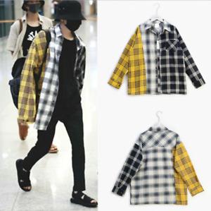 BTS SUGA Shirt Unisex Bangtan Boys Fashion Cotton Stitching Plaid Shirt KPOP Top
