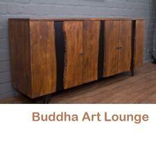 Sideboard Massivholz Suar Baumstamm Naturkante 200x90x47 Anrichte Buffet Braun