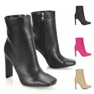 Womens Square Toe Ankle Booties Ladies Zip Up High Slim Block Heel Dressy Boots