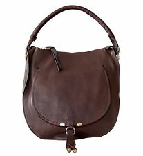 Chloe Marcie Hobo Shoulder Bag Leather Large Brown New