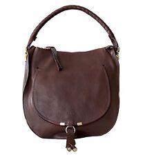 Chloe Marcie Hobo Shoulder Bag Leather Large Brown New