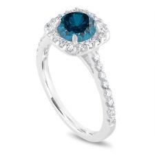 1.58 Carat Enhanced Blue Diamond Engagement Ring Platinum Cushion Cut Halo Ring