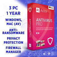 ⭐ Avira Antivirus Pro 3 Geräte 1 Jahr 2020 VOLLVERSION / für Windows 10, Mac
