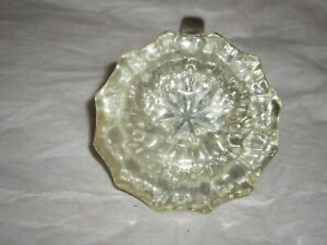 Vintage 12-Point Crystal Glass Door Knobs Brass Base