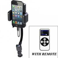 For iPHONE - CAR MOUNT WIRELESS FM TRANSMITTER CHARGER HOLDER USB PORT w REMOTE