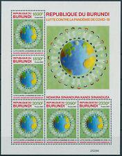 More details for burundi 2021 mnh medical stamps corona pandemic 5v numbered m/s limited ed