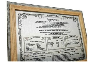 BIRTHDAY GIFT on SILVER Metal - The Day You Were Born, Personalised & Framed