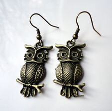 Antique Bronze Style EARRINGS Owls Owl Strigiformes Bird of Prey gothic