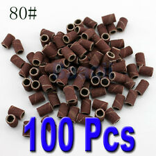 100pcs embouts emeri ponceuse faux ongle gel uv grain 80#Nail Drill Sanding Band