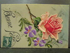 cpa fantaisie decoupi celluloid rose violettes