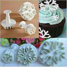 3Pcs Craft Cutter Plunger Mold Snowflake Mould Fondant Cake Decorating Tools Set
