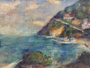 🔥 RARE Antique California Plein Air Impressionist Seascape Painting - Breitag