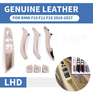 7PCS Genuine Leather Beige LHD Interior Door Pull Handle Lift Button For BMW F10