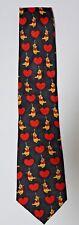"Disney Pooh Bear Tie Necktie 60"" Mens Heart Balloons Valentines Day Black/Red"