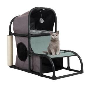Cat Tree Cat Tower Furniture Kitten Condo Bed Duplex w. Scratching Post Dangling