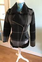Karen Millen Black & Grey Block Colour Wool Mix Jacket Size 10 VGC RRP £275.00