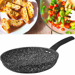 Non Stick GRANITE MARBLE Coated Black Frying Pan For Gas Electric Induction Hob