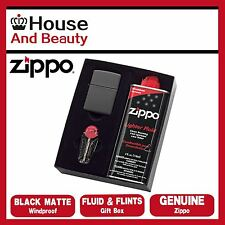 NEW Zippo 218 Black Matte Lighter with 118ml Fluids & Flints Gift Boxed 90218GP
