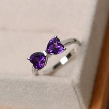 18K White Gold 1.55 Ct Real Diamond Heart Shape Natural Amethyst Ring Size J N K