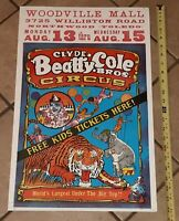 VTG Clyde Beatty Cole Bros Circus Poster Woodville Mall Northwood/Toledo Ohio