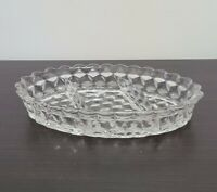Fostoria American Crystal Clear Glass 3-Part Oval Relish