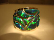 RARE* 14 Mens Large Wide band Knuckle to Knuckle BRILLIANT BLACK FIRE OPAL RING