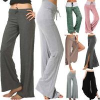 Women Ladies Comfy Soft Wide Leg Yoga Pants Athletic Stretch Casual Leggings F