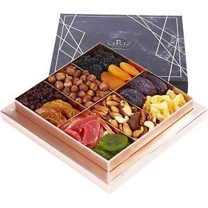 Holiday Nuts and Dried Fruit Gift Basket Healthy Gourmet Snack Food Box 1.32lbs