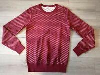 J. Lindeberg Vern Dot Jacquard Red Polka Dot Merino Wool Pullover Jumper - Small